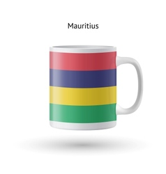 Mauritius flag souvenir mug on white background vector