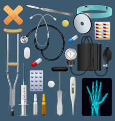 medical equipment tools and drugs set medicine vector image