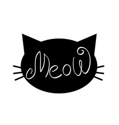 Meow word in cat face with whiskers vector