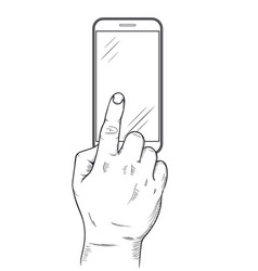 mobile phone display with hand finger touch vector image