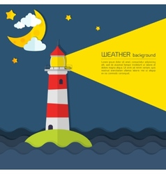 Modern weather background with lighthouse moon and vector image