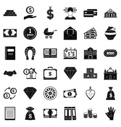 Money deposit icons set simple style vector