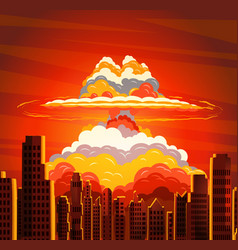 nuclear explosion radioactive cloud on city vector image