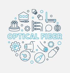 optical fiber round creative linear vector image