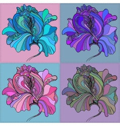Print of four graphic flowers with vector