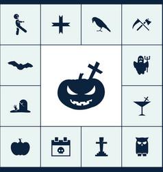 pumpkin icon halloween set simple sign vector image