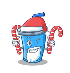 Santa with candy soda drink character cartoon vector