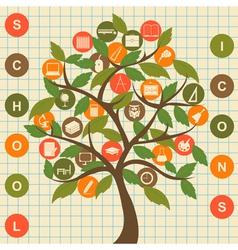 School icons tree vector image