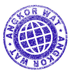Scratched textured angkor wat stamp seal vector