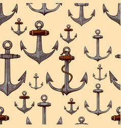 seamless pattern with anchors in engraving style vector image
