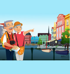 Senior couple traveling after retirement vector