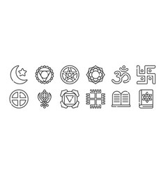 Set 12 thin outline icons such as jewish vector