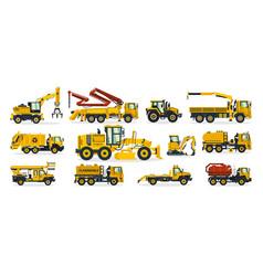 Set construction equipment excavator tractor vector