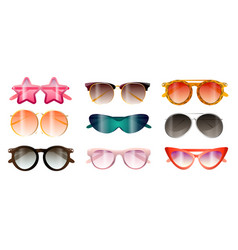 set modern colorful sunglasses summer beach vector image