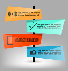set of bright paper infographics elements vector image