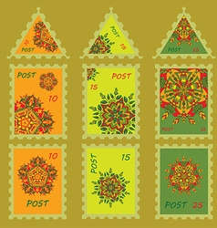 Set simple design for postage stamps with hand vector