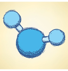 Sketch water molecule in vintage style vector image