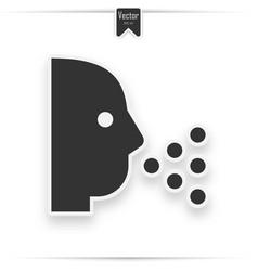 Sneezing head shadow icon vector
