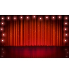 Spotlight on red stage curtain vector image