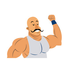 strong man circus character muscle bald with vector image
