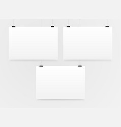 Three horizontal poster mockup a4 mock-up vector