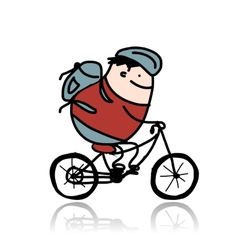 Tourist rides a bike cartoon for your design vector image