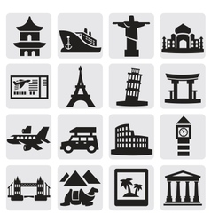travel and landmarks set vector image