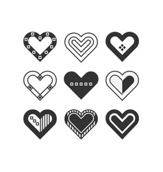 Trendy black silhouette assorted hearts icons set vector
