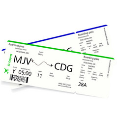 two airline boarding passes vector image