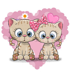 Two cute cartoon kitten vector
