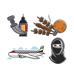 united arab emirates traditional national symbols vector image
