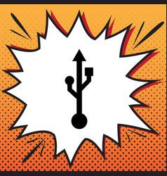 usb sign comics style icon vector image