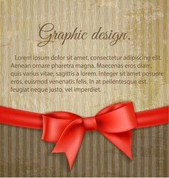 Vintage grungy background with red bow vector image