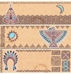 Vintage set of native American banners vector