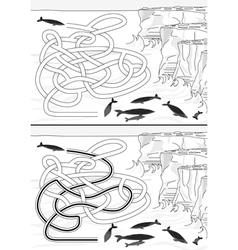 Whales maze vector image vector image