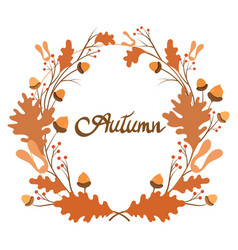 wreath autumn plants with inscription vector image