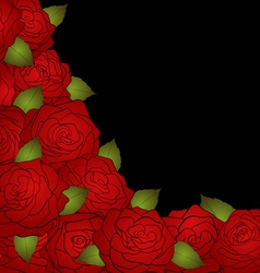 black background for a card decorated with roses vector image