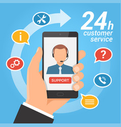 customer service concepttechnical support call vector image
