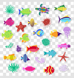 cute stickers of sea marine fish animals plants vector image