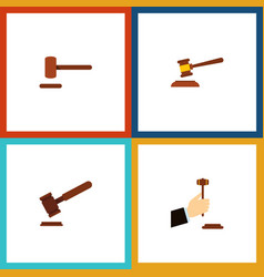flat icon lawyer set of justice defense law and vector image