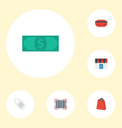 flat icons shop qr label and other vector image vector image