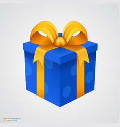present blue box with golden ribbon vector image