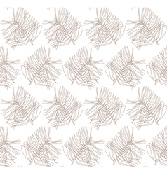 seamless pattern with pine branches and cones vector image