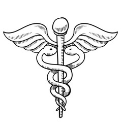 doodle caduceus medical symbol vector image
