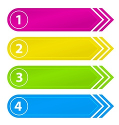 Numbered Website Buttons with Arrow vector image vector image
