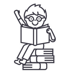 sitting boy reads book line icon sign vector image