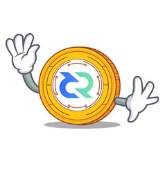 waving decred coin character cartoon vector image vector image