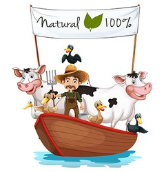 A farmer on a boat with his animals vector image vector image