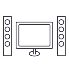 cinema home theater line icon sign vector image