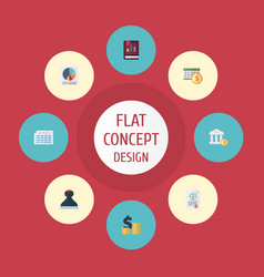 flat icons act deadline pie bar and other vector image vector image